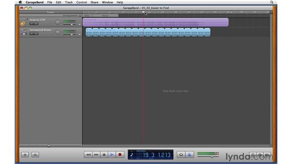 Using the Arrange track to create song form sections : GarageBand '11 Essential Training