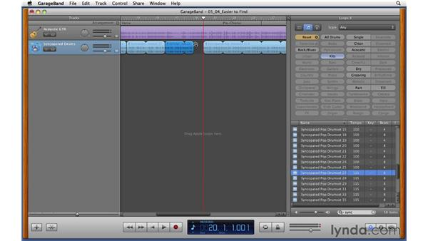 Splitting Apple Loops and choosing alternates to build a drum part: GarageBand '11 Essential Training