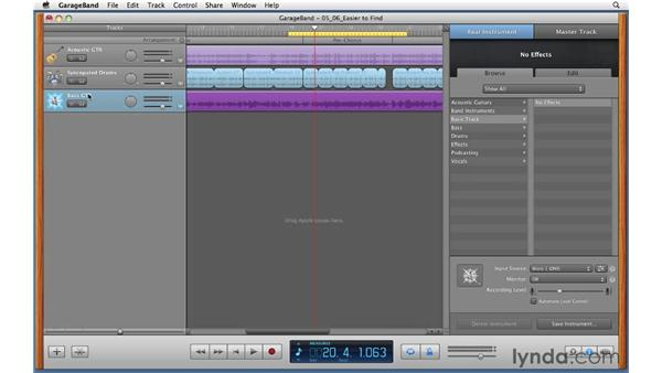 Punching in a small section of audio: GarageBand '11 Essential Training