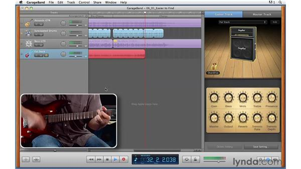 Tuning up and tracking a rhythm electric guitar part: GarageBand '11 Essential Training