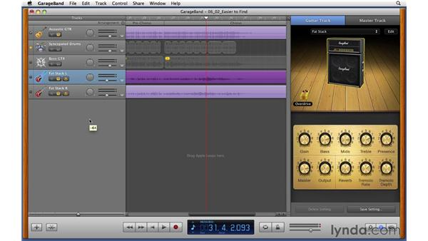 Customizing the guitar sound using amps, stompboxes, and effects: GarageBand '11 Essential Training
