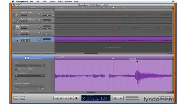 Using Flex Time to fix a double-tracked rhythm guitar part: GarageBand '11 Essential Training