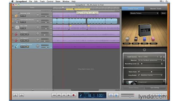 Using Cycle Record to record multiple takes for soloing: GarageBand '11 Essential Training