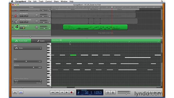 Editing MIDI notes in the piano roll editor after the performance: GarageBand '11 Essential Training
