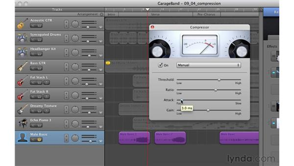 Compressing tracks: GarageBand '11 Essential Training