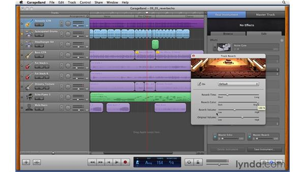 Adding reverb and echo effects to individual tracks: GarageBand '11 Essential Training
