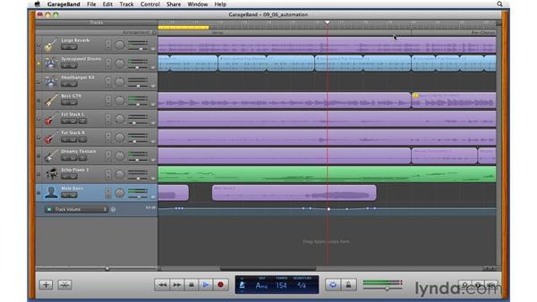 Creating automated volume and pan moves: GarageBand '11 Essential Training