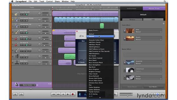 Using master track effects and automating a fade-out: GarageBand '11 Essential Training