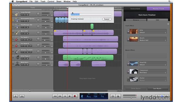 Creating a final mixdown: Exporting a finished song to disk: GarageBand '11 Essential Training