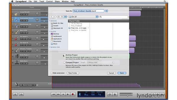 Archiving GarageBand project files: GarageBand '11 Essential Training
