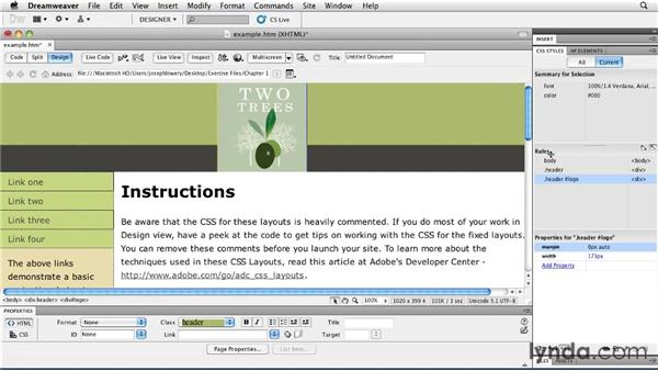 Polishing the layout: Layouts with CSS in Dreamweaver