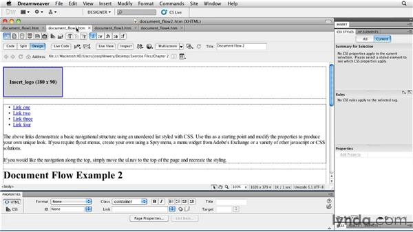Understanding document flow: Layouts with CSS in Dreamweaver