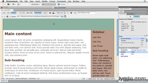 Applying the faux column technique: Layouts with CSS in Dreamweaver