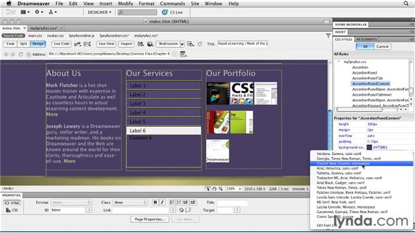 Integrating Spry accordion panels: Layouts with CSS in Dreamweaver