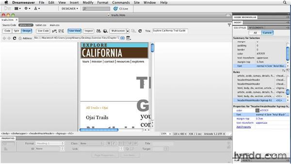 Developing smartphone layouts: Layouts with CSS in Dreamweaver