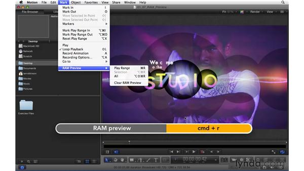 Using RAM preview and audio controls to get smooth preview playback: Motion 5 Essential Training