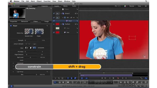 Using the keyer to composite green screen footage: Motion 5 Essential Training