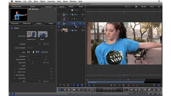 Using masks to refine a green screen composite: Motion 5 Essential Training