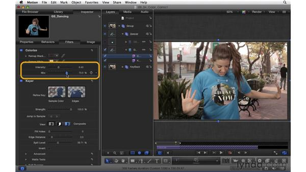 Color-correcting elements to match within a green screen composite: Motion 5 Essential Training