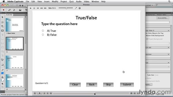 Using the new quiz features: Captivate 5 Essential Training