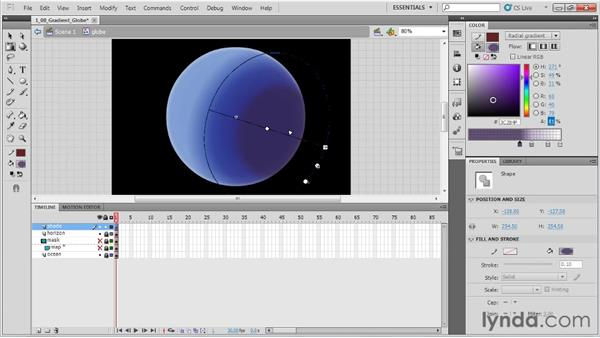 Creating a gradient globe: Animation Tips and Tricks with Flash Professional