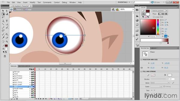 Applying gradients to a character's eye: Animation Tips and Tricks with Flash Professional