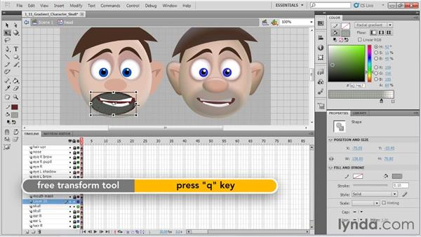 Applying gradients to a character's skull: Animation Tips and Tricks with Flash Professional