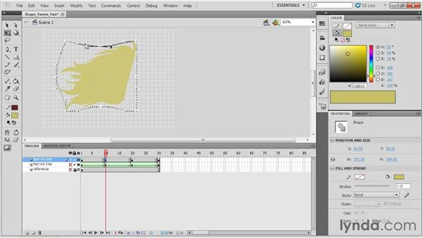 Shape tweening hair: Animation Tips and Tricks with Flash Professional