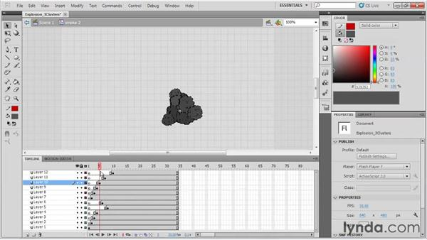 Adding explosion clusters: Animation Tips and Tricks with Flash Professional