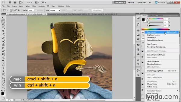 Creating layers: Up and Running with Photoshop for Design
