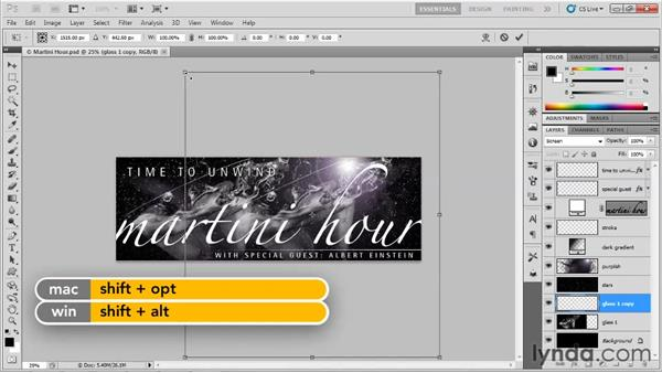 Duplicating a series of layers: Up and Running with Photoshop for Design