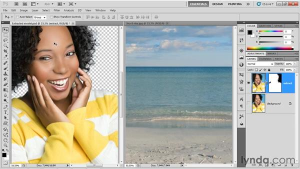 Moving a layer into a new background: Up and Running with Photoshop for Design
