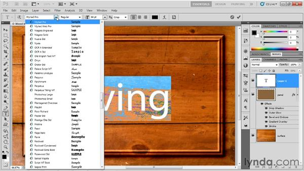 Creating and formatting type: Up and Running with Photoshop for Design