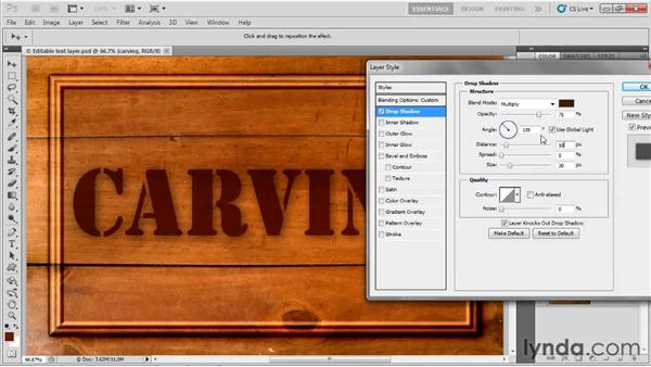 Adding a drop shadow: Up and Running with Photoshop for Design