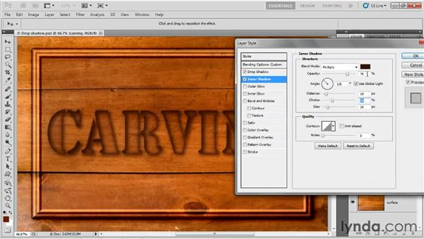 Carving type into a background: Up and Running with Photoshop for Design