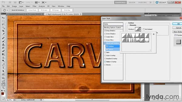 Making beveled type: Up and Running with Photoshop for Design