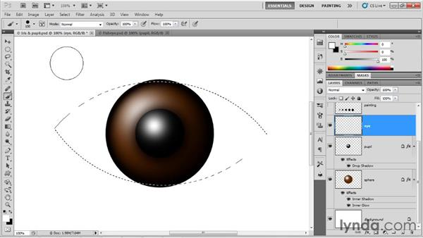 Painting inside a selection outline: Up and Running with Photoshop for Design