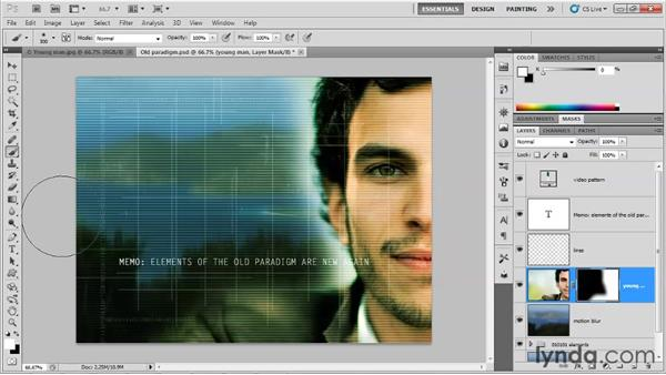 Using a layer mask: Up and Running with Photoshop for Design