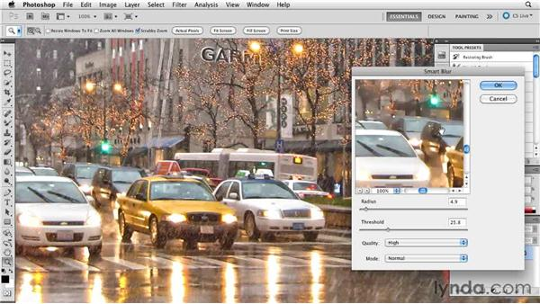 Using Smart Blur for simplification: Digital Painting: Street Scene