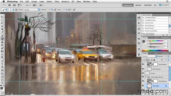 Providing rest areas for the eye: Digital Painting: Street Scene