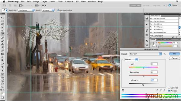 Focusing on the subject through detail: Digital Painting: Street Scene