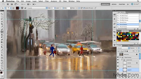 Creating detail to enhance the artwork: Digital Painting: Street Scene