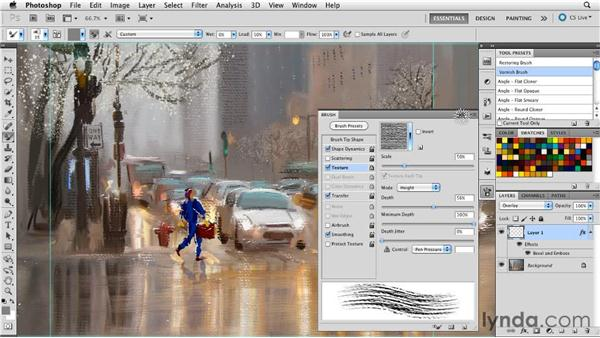 Creating physical surface texture effects: Digital Painting: Street Scene