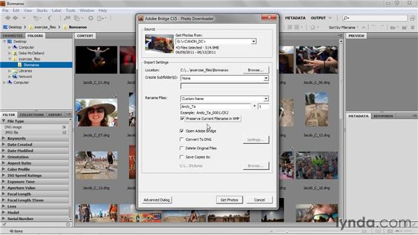 Getting photos from your camera: Up and Running with Photoshop for Photography