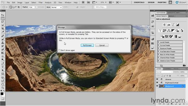 Understanding the photography workspace: Up and Running with Photoshop for Photography