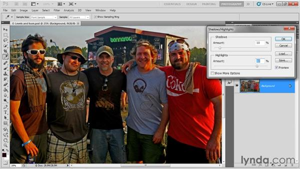 Fixing shadows and highlights: Up and Running with Photoshop for Photography