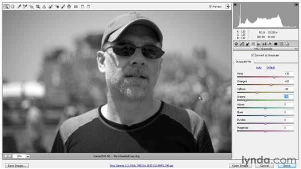 Converting to black and white: Up and Running with Photoshop for Photography