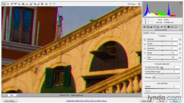 Fixing chromatic aberrations: Up and Running with Photoshop for Photography
