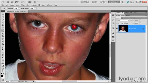 Correcting red-eye: Up and Running with Photoshop for Photography