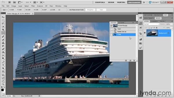 Straightening a crooked image: Up and Running with Photoshop for Photography